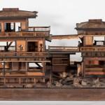 Modellino di casa giapponese in legno (XIX secolo).