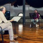 Prove di Norma - da sinistra a destra: Bruno Volpato (maestro collaboratore), Tiziano Severini (direttore d'orchestra), Luciano Ganci (Pollione), Saioa  Hernandez (Norma)