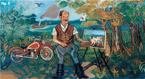 Antonio Ligabue, Autoritratto con moto, cavalletto e paesaggio, s.d. (1953-1954)