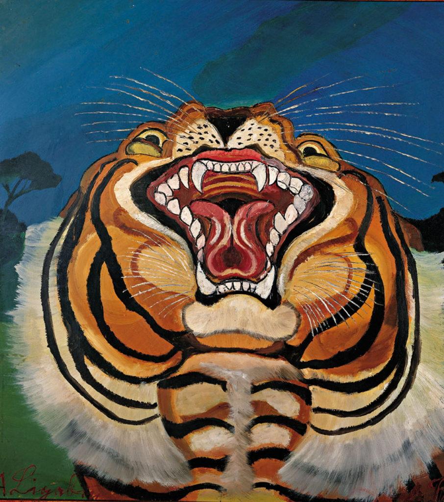 Antonio Ligabue Testa di tigre , s.d. (1955 - 1956), OLIO su tavola di faesite , 75X64 Cm Guastalla (Reggio Emilia), collezione privata