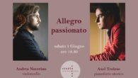 """Continuano gli """"Incontri per la musica e l'arte"""" allo Studio Rosso di Zanotto Strumenti, sabato 1 giugno 2019, ore 18.30, con il violoncellista Andrea Nocerino ed il pianista Axel Trolese."""