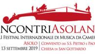 """Al via martedì 3 settembre la 41ª edizione del Festival Internazionale di Musica da Camera """"Incontri Asolani""""  con il suggestivo spettacolo L'urlo di Armida."""