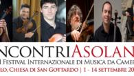 Sestetto d'archi in concerto nell'antica Chiesa di S. Gottardo per il Festival internazionale Incontri Asolani giovedì 3 settembre 2020, 20.45