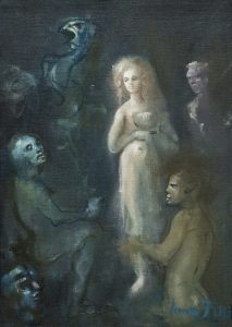 illustrazione di un libro sul mito di Pentesilea (che poi non fu mai editato) - 1994 - olio su tela - cm 24x18 - coll. privata, Trieste - � Marianna Accerboni[1]