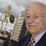 Ray Harryhausen lectureWith skeleton & Middlesbrough tower