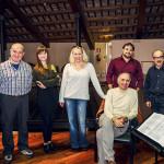 Prove di Norma - da sinistra a destra: Cristian Saitta (Oroveso), Antonello Ceron (Flavio), Alessia Nadin (Clotilde), Saioa Hernandez (Norma), Tiziano Severini (direttore d'orchestra), Luciano Ganci (Pollione),  Bruno Volpato (maestro collaboratore), Paolo Miccichè (regista)