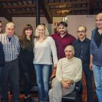 Prove di Norma - da sinistra a destra: Cristian Saitta (Oroveso), Antonello Ceron (Flavio), Alessia Nadin (Clotilde), Saioa Hernandez (Norma), Luciano Ganci (Pollione), Tiziano Severini (direttore d'orchestra), Bruno Volpato (maestro collaboratore), Paolo Miccichè (regista)
