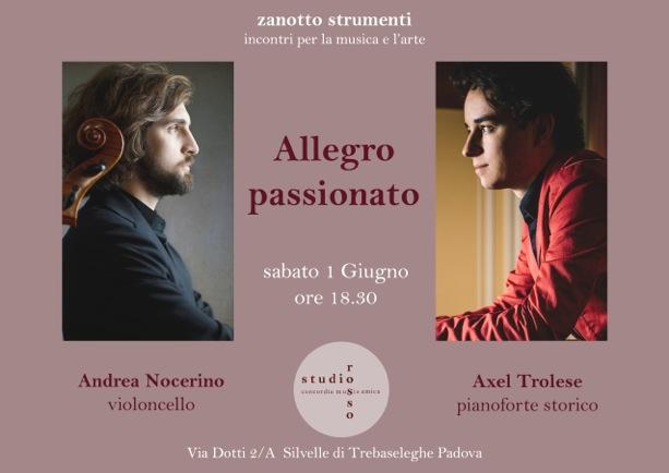 """Un concerto """"Allegro Passionato"""" con il violoncellista Andrea Nocerino ed il pianista Axel Trolese."""